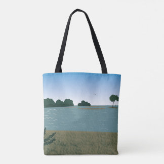 Landscape at the river tote bag