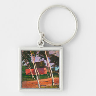 Landscape by Paula Modersohn-Becker Silver-Colored Square Key Ring