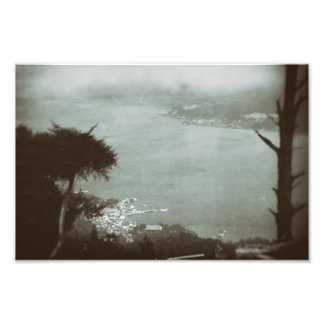 Landscape Fog Hillside Lake Valley Below Vintage Photo