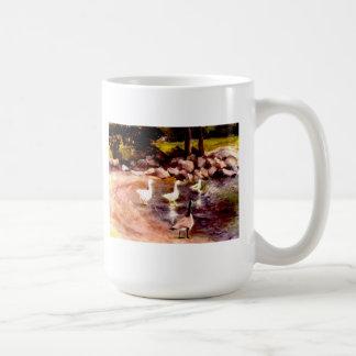 landscape  geese wading in water basic white mug