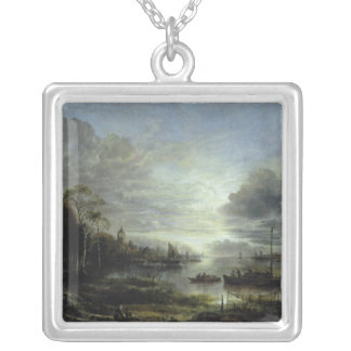 Landscape in Moonlight Silver Plated Necklace