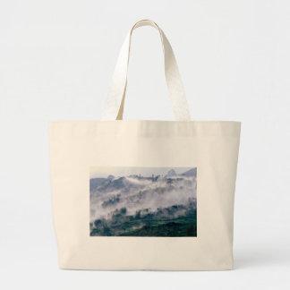 Landscape in the fog jumbo tote bag