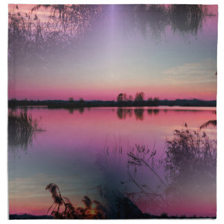 landscape lake at sunset napkin