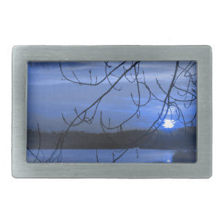 landscape lake rectangular belt buckle