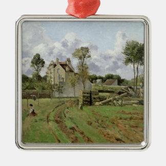 Landscape, Louveciennes, c.1872 Silver-Colored Square Decoration
