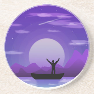 Landscape night illustration coaster