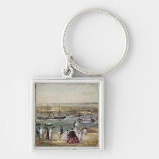 Landscape of Cuba Silver-Colored Square Key Ring