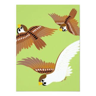 Landscape of everyday sparrow dances 14 cm x 19 cm invitation card