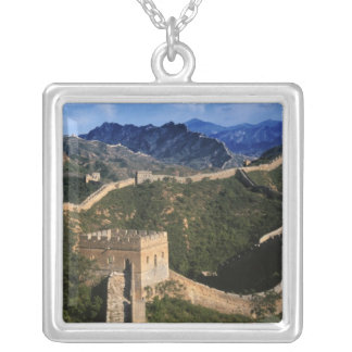 Landscape of Great Wall, Jinshanling, China Silver Plated Necklace