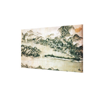Landscape of mountains and a river canvas print