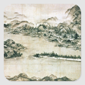 Landscape of mountains and a river square sticker