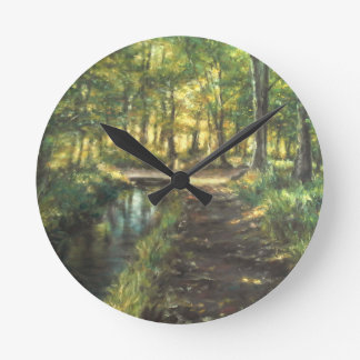 Landscape of nature with to river round clock