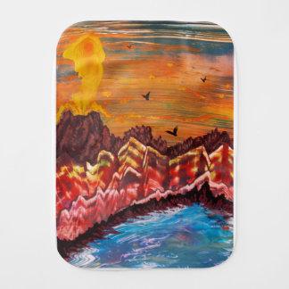 Landscape of the smoking volcano burp cloth