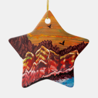 Landscape of the smoking volcano christmas ornament