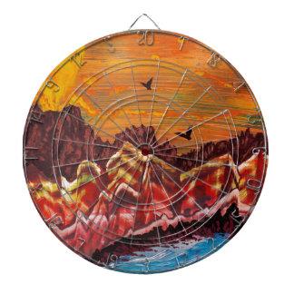 Landscape of the smoking volcano dartboard