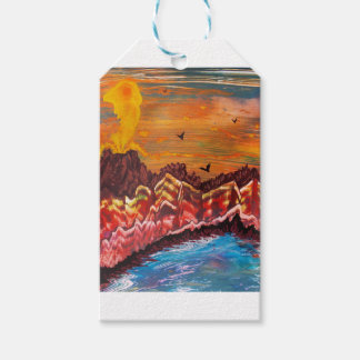 Landscape of the smoking volcano gift tags