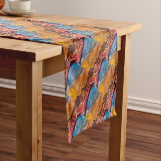 Landscape of the smoking volcano short table runner