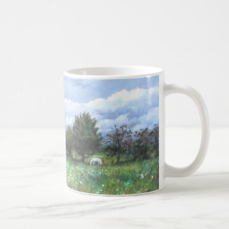 Landscape of to valley with horse coffee mug