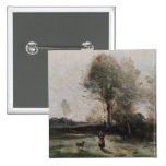 Landscape or, Morning in the Field 15 Cm Square Badge