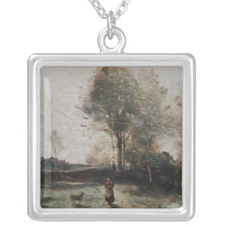 Landscape or, Morning in the Field Silver Plated Necklace