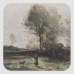 Landscape or, Morning in the Field Square Sticker