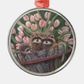 landscape paint painting hand art nature Racoons Christmas Ornament