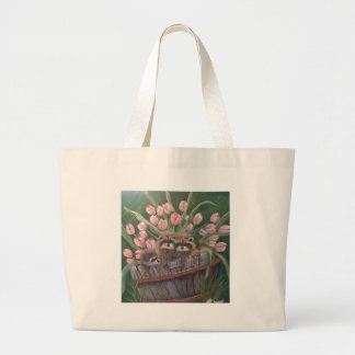landscape paint painting hand art nature Racoons Jumbo Tote Bag