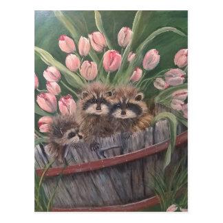 landscape paint painting hand art nature Racoons Postcard