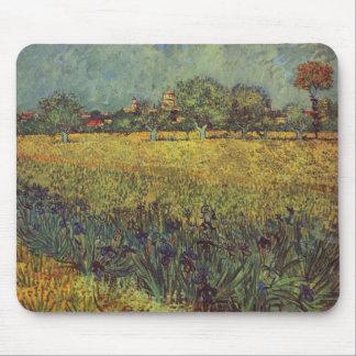 Landscape painting by Vincent Van Gogh Mouse Mat