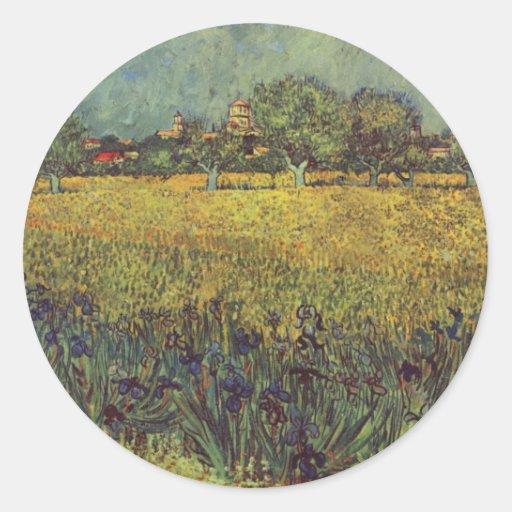 Landscape painting by Vincent Van Gogh Round Sticker