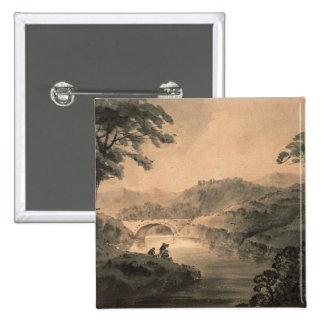 Landscape (pen & ink wash) 15 cm square badge