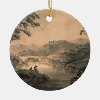 Landscape (pen & ink wash) christmas ornament