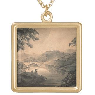 Landscape (pen & ink wash) pendant