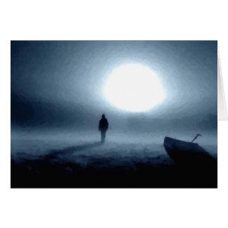 landscape, portrait, person, night, moon greeting card