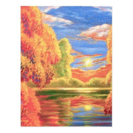 Landscape River Lake Painting Art Post Cards