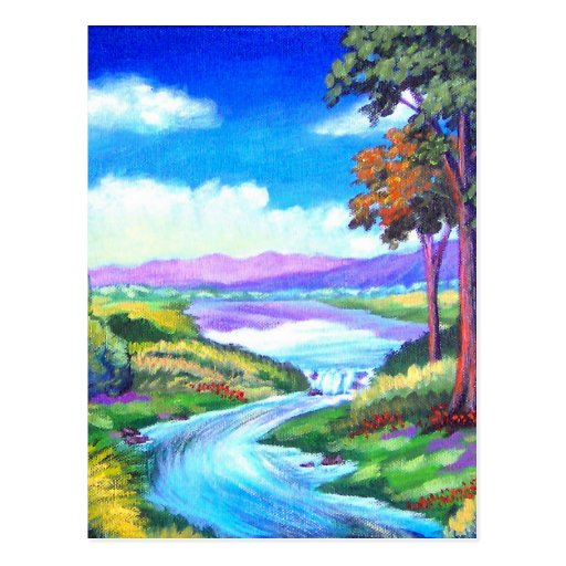 Landscape River Painting Art - Multi Postcards