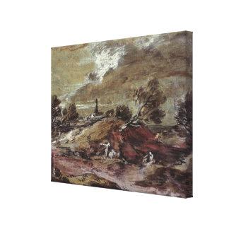 Landscape: Storm Effect, 18th century Canvas Print