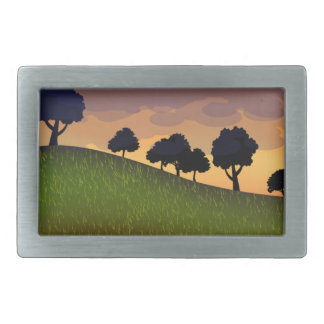 Landscape summer rectangular belt buckle