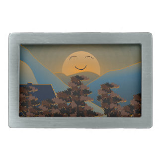 Landscape sunset rectangular belt buckles
