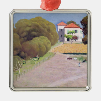 Landscape, The House with the Red Roof, 1924 Silver-Colored Square Decoration