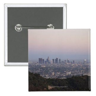 Landscape view of skyscrapers, Los Angeles 15 Cm Square Badge