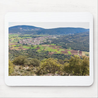 Landscape village with houses in valley of Greece Mouse Mat