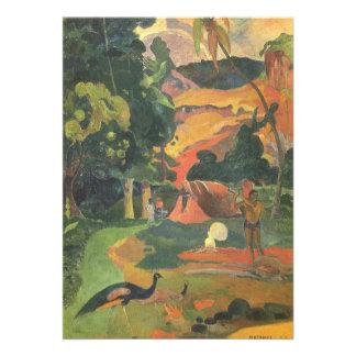 Landscape w Peacocks by Gauguin, Vintage Fine Art Card