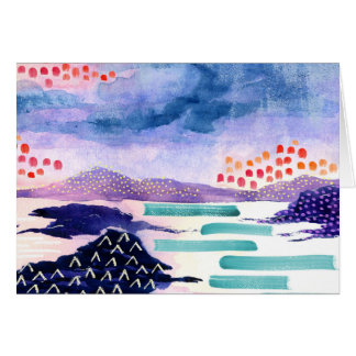 Landscape Watercolour Colourful Greetings Card