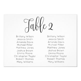 Landscape wedding seating chart. Modern table plan Card