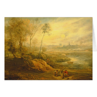 Landscape with a Birdcatcher (oil on panel) Greeting Card