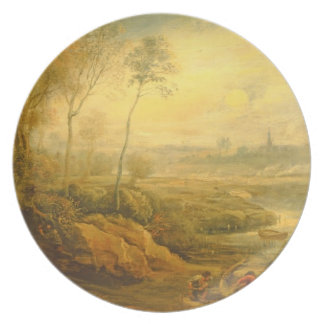 Landscape with a Birdcatcher (oil on panel) Plate