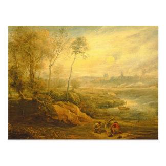 Landscape with a Birdcatcher (oil on panel) Postcard