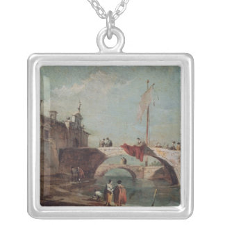 Landscape with a Canal Silver Plated Necklace