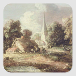 Landscape with a Church, Cottage, Villagers and An Square Sticker